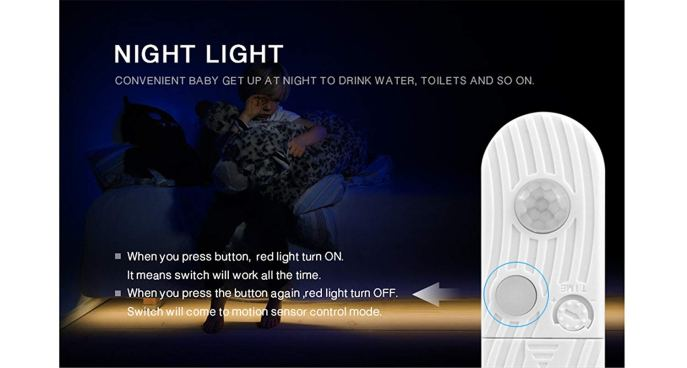 """An image of the controller's """"always on"""" button. If the button is on, a red light turns on and the LED light strip will be kept on. If the button is off, the red light turns off and the LED light strip is controlled by the light and motion sensors."""