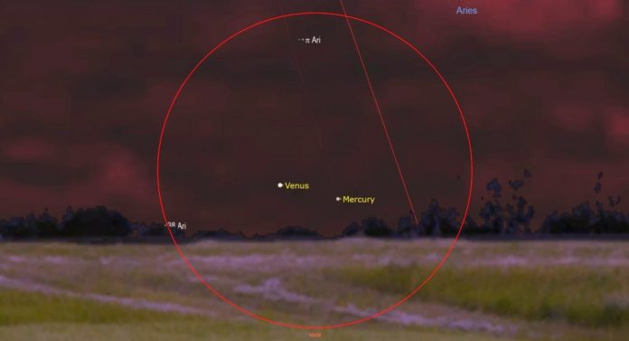 A diagram showing Mercury moving past Venus on April 24, 2021. | SkyNews