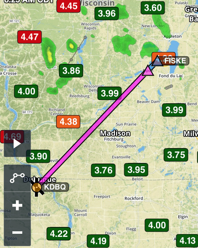 Dubuque to FISKE, Airventure arrival on Foreflight