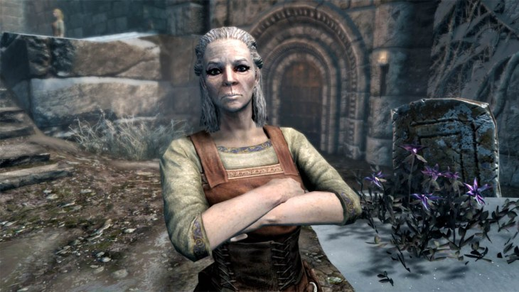 Viola Giordano outside the Hall of The Dead in Windhelm in Skyrim.