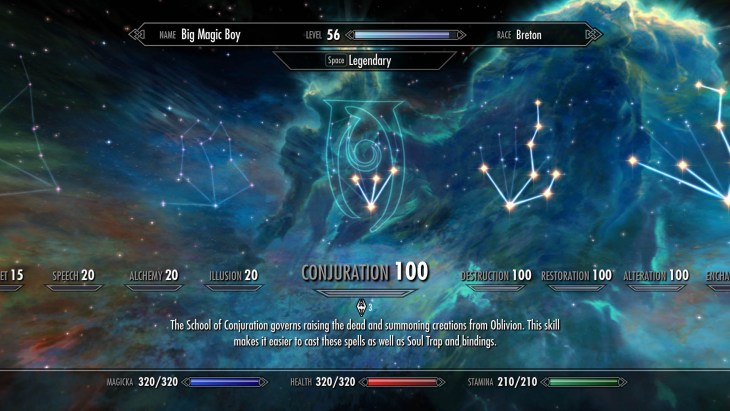 Skyrim Conjuration skill tree with perks chosen for a battlemage build.