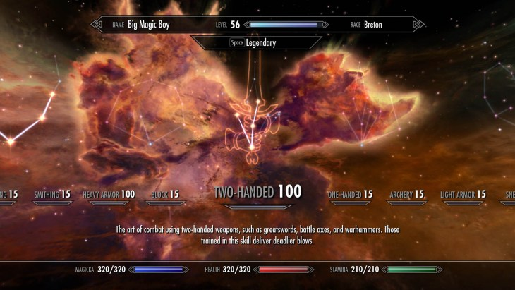The Two-Handed skill tree with perks chosen for a battlemage build.