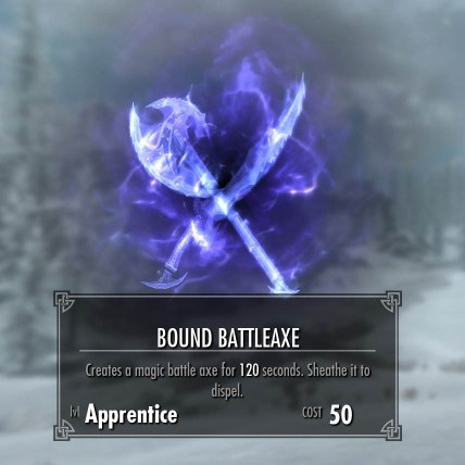 Bound Battleax conjuration spell in Skyrim, that levels with two-handed spell.