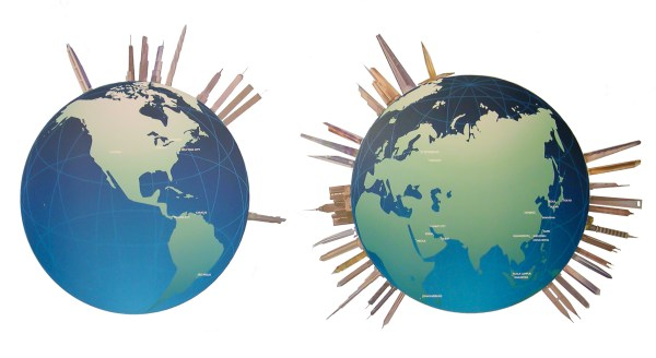 Graphic showing two Earth globes, one showing North America and another Asia. These globes represent a survey of supertall towers The Skyscraper Museum compiled for the 2007 exhibition World's Tallest Building: Burj Dubai.