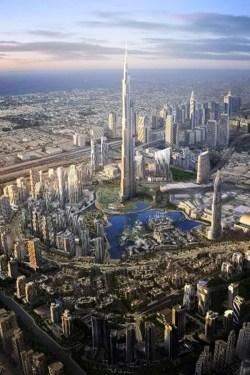 Skyline view of Dubai showing Burj Khalifa at its center