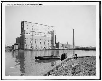 <p>Santa Fe Elevator, Damen and the Chicago River. Courtesy of Thomas Leslie.</p>