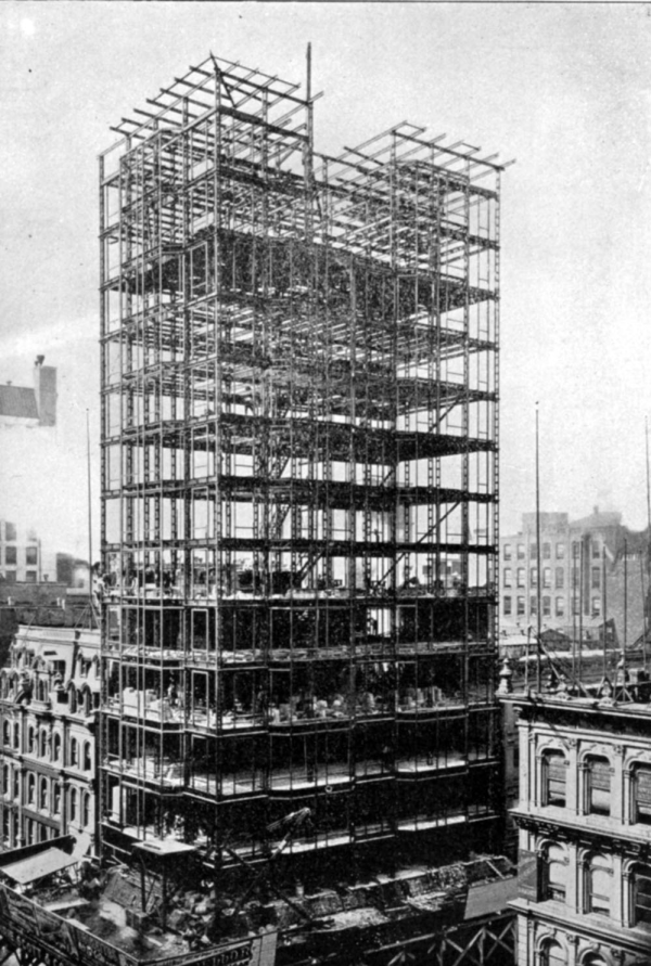 """<p>""""The New 'Times' Building, New York-Erection of the New Structure Prior to the Removal of Old One."""" Scientific American, August 25, 1888, cover</p> <p>Reliance Building, Chicago.</p>"""