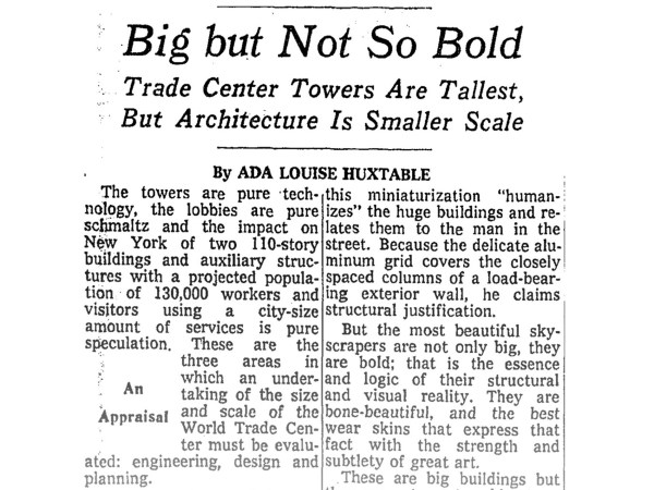 """Capture of an article on the New York Times written by architecture critic Ada Louise Huxtable, titled """"Big but Not So Bold"""""""