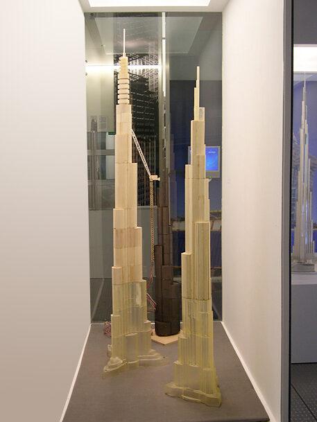 Case view of wind tunnel models of Burj Khalifa