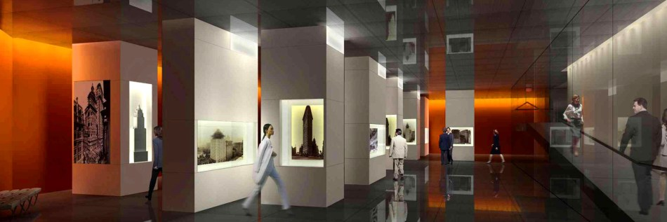 Interior rendering of the gallery at The Skyscraper Museum