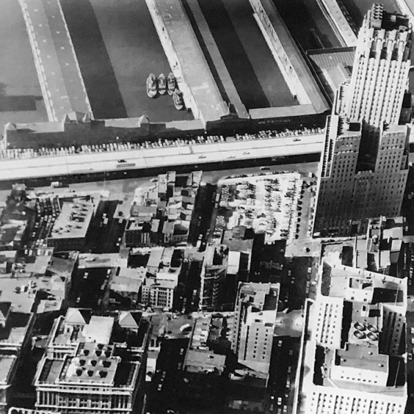 Aerial photograph of Radio Row and the Hudson River