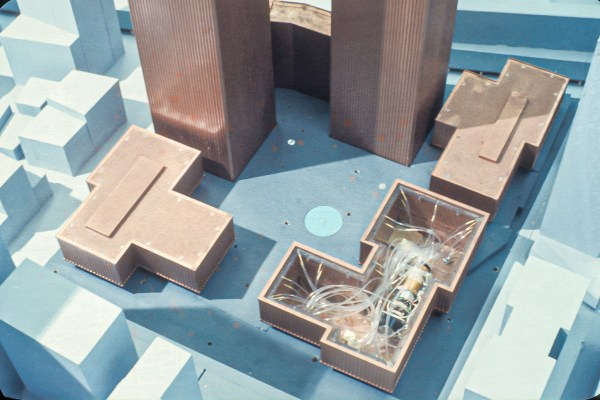Close up of wind tunnel model of the World Trade Center