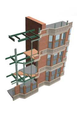 Digital model of structural analysis of the Tacoma Building, Chicago, Thomas Leslie.