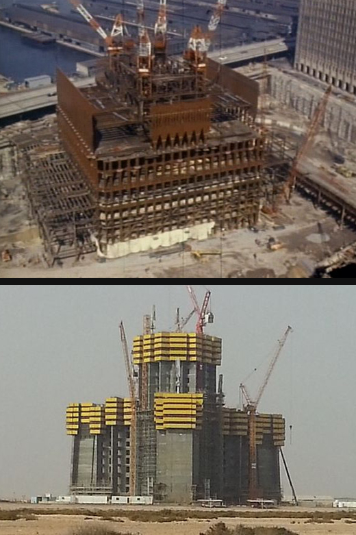 Construction view of the World Trade Center (top) and Jeddah Tower (bottom)