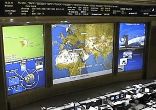 NASA monitor showing landing path