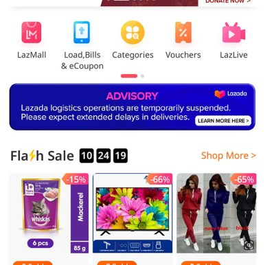 Lazada has banners on its home page that leads to donation sections.