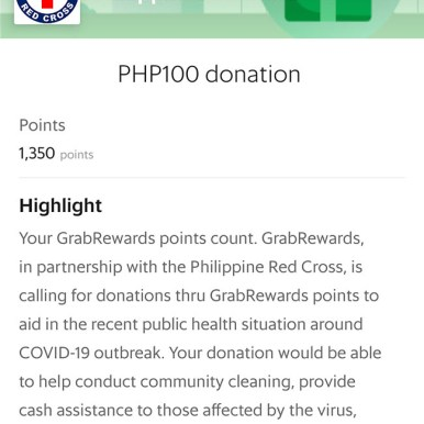 Use your Grab Rewards to donate.