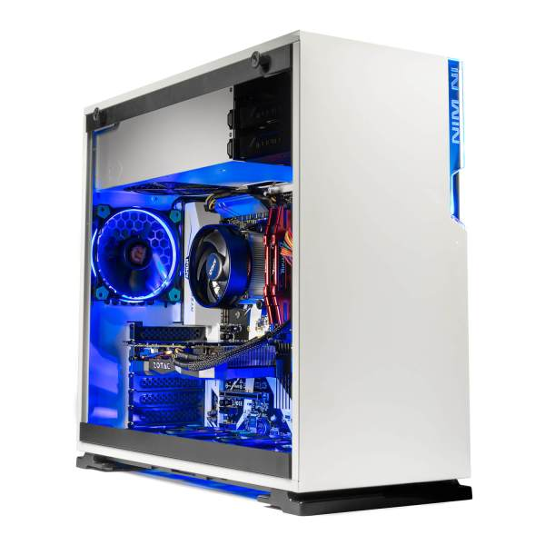 Omega Mini Gaming PC, White with Blue LEDs