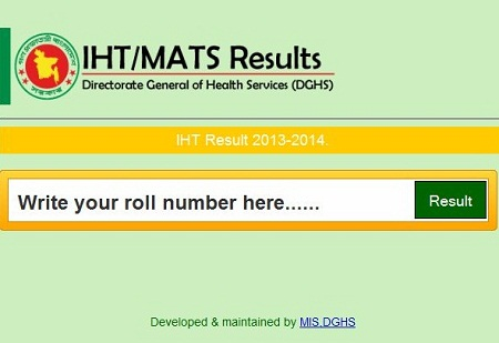 Admission test results of MATS and IHT