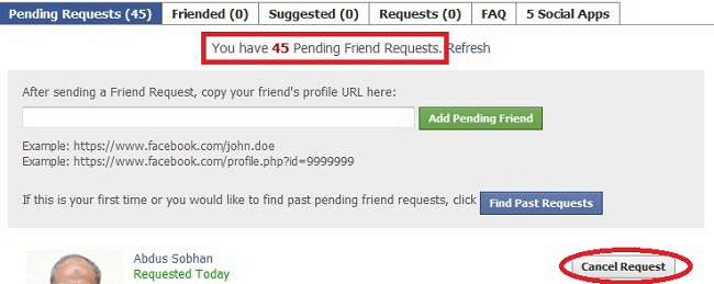 pending request total