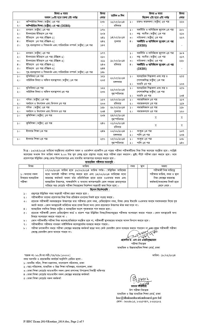 HSC exam routine 2014 has been published