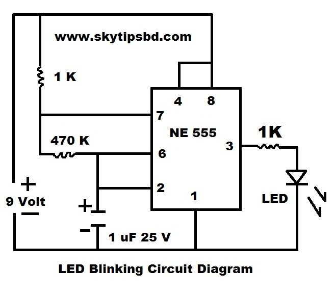 LED Blinking Circuit Diagram by using IC NE 555