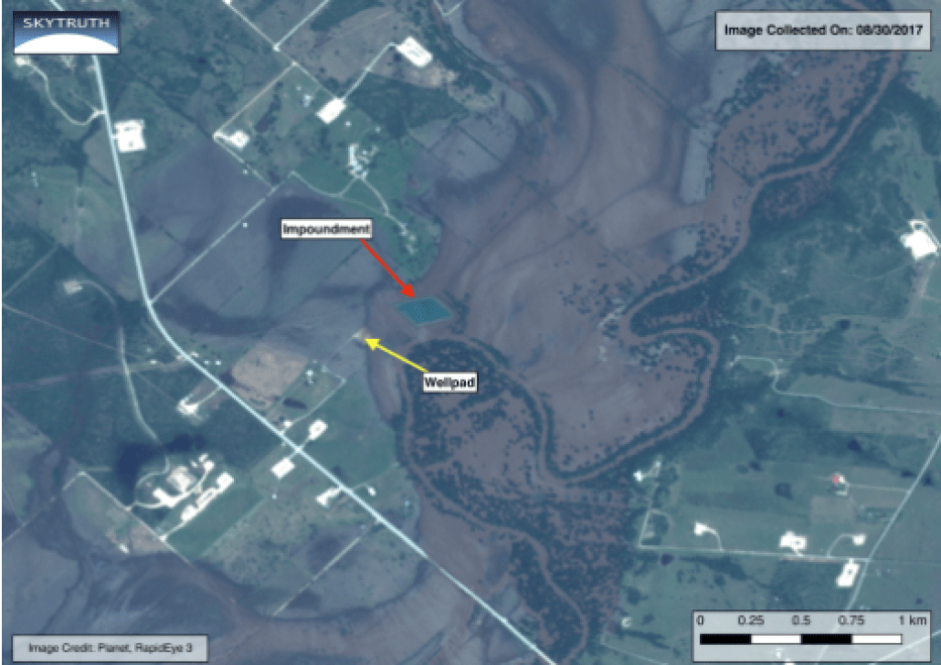 Site 1. A flooded drilling site (well pad) and possibly a flooded drilling-related fluid impoundment, 1.7 miles northwest of Hochheim. The nearest home is about 400 yards from the impoundment. A low berm around the impoundment may have prevented floodwaters from entering