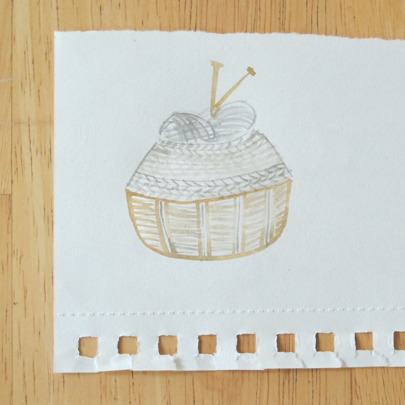 knitted basket illustration watercolor