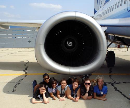 Girls under the engine
