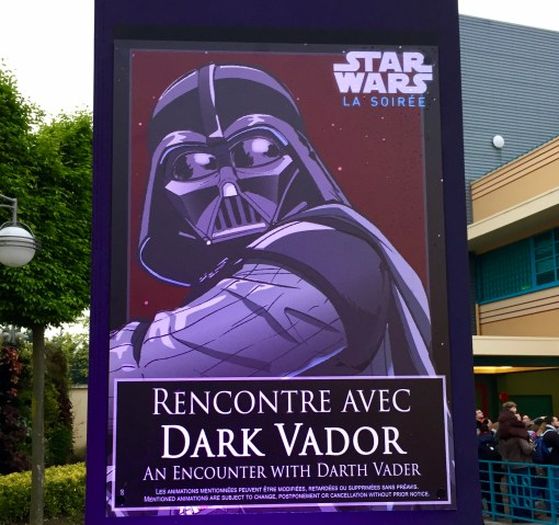 Star Wars Soiree special signage for Darth Vader