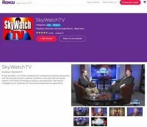 The SkyWatchTV page at Roku.com