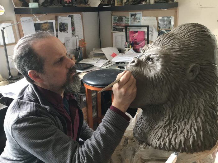 Sculpting a gorrila bust