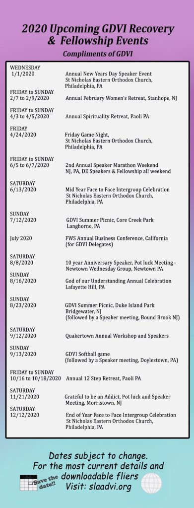 2020 Calendar Events Bookmark
