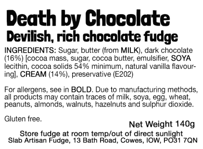 Death By Chocolate Slab Flavour Label - Ingredients & Allergens