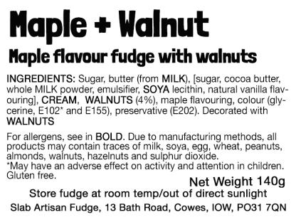 Maple + Walnut Slab Flavour Label - Ingredients & Allergens