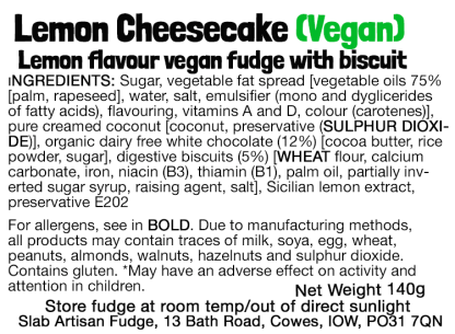 Lemon Cheesecake Slab (Vegan) Flavour Label - Ingredients & Allergens