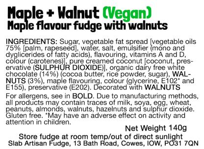 Maple & Walnut Slab (Vegan) Flavour Label - Ingredients & Allergens