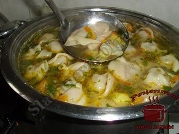Суп с пельменями. Рецепт. Фото