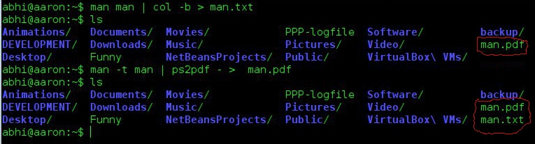 Converting man pages to printable text and pdf files
