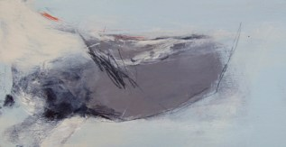 Atlantic Coast Early Morning Angela Charles SOLD acrylic and coloured pencil on wooden panel 15 x 30cm