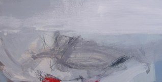 West Bay South-Facing by Angela Charles acrylic and coloured pencil on wooden panel 20 x 40cm
