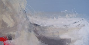 West Bay to Hive by Angela Charles acrylic and coloured pencil on wooden panel 20 x 40cm