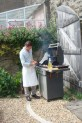 Øystein set to work searing the fish on the barbeque.