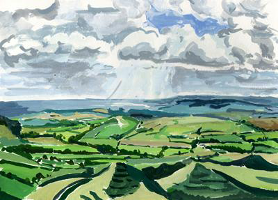 From Pilsdon to Eggardon Hill Tim Cumming 8.5 x 11.5 inches gouache on paper £250