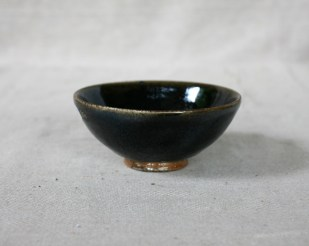 Svend Bayer 35. Exceptional Black Blue Glazed Bowl 7 x 15.5 cm SOLD (four others in set are not sold)