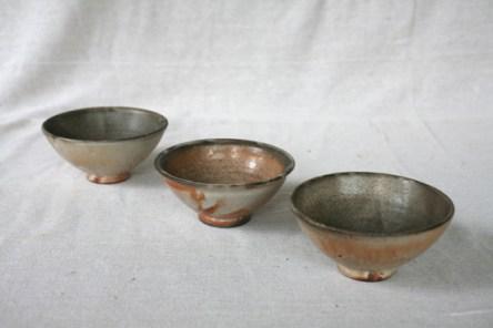 Svend Bayer bowls with shino glaze, L to R 38. 7.5 x 16 cm £110, 42. 7 x 15.5 cm £110 and 41. 7 x 16cm £110