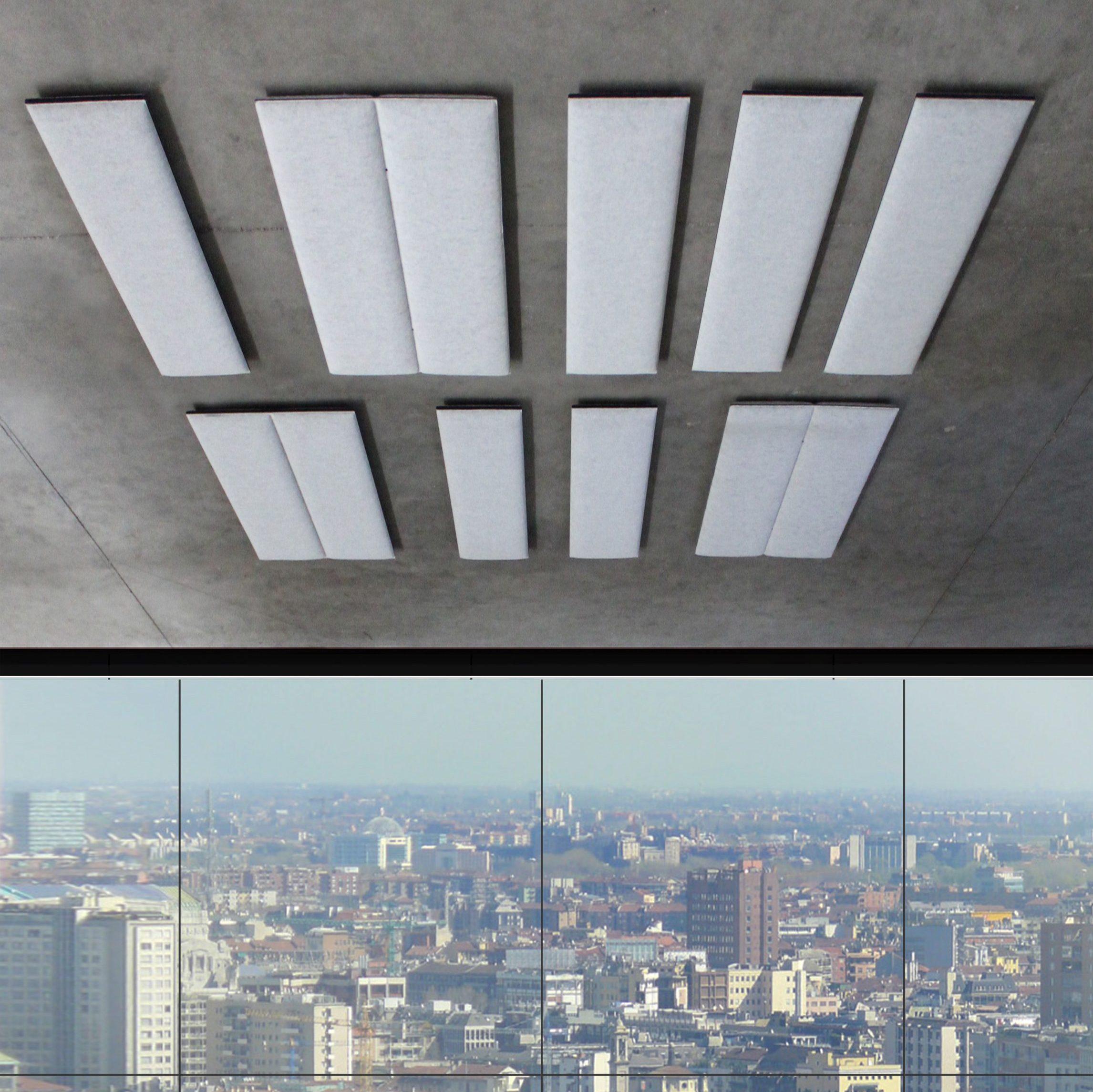 ECOstrong bevestigd aan plafond in de kleur grijsblauw