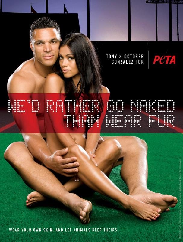October and Tony Gonzalez Bare All in New PETA Ad