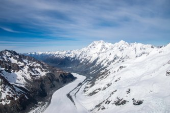 View from the helicopter over the glaciers