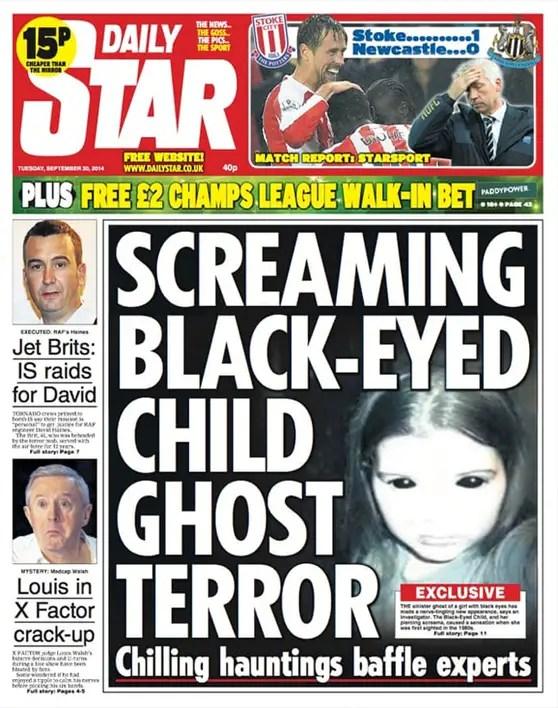 Article de couverture sur des enfants aux yeux noirs dans un journal - Des enfants aux yeux noirs effrayants pris en photo